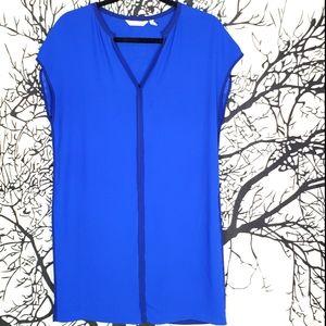 ZOA Color Block Blue Shift Dress V-Neck Cap Sleeve